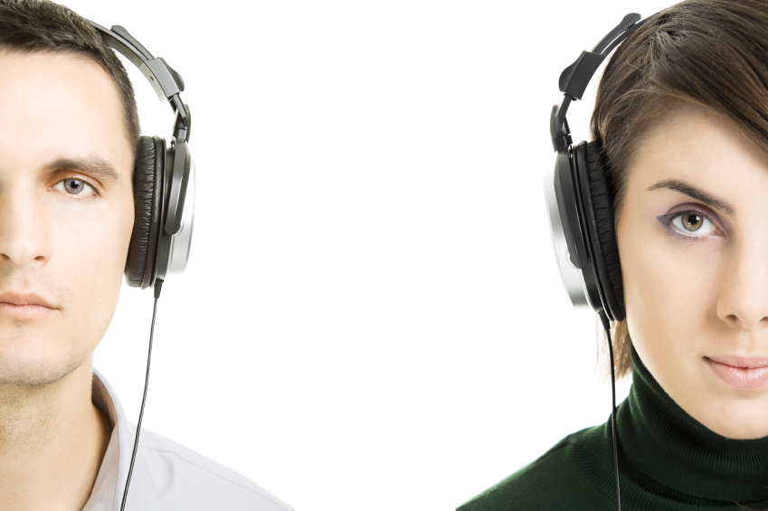 Couple with headphones