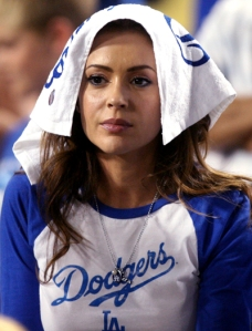 Alyssa Milano at the Dodgers NLCS game