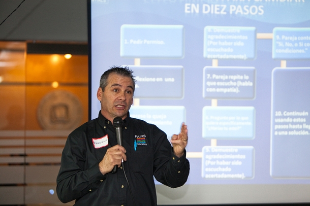 Francisco Robledo teaches conflict resolution skills at Dominican Embassy.