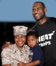 Lebron James with U.S. Marine