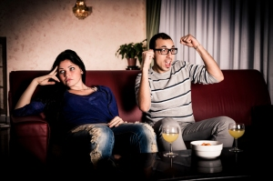 Couple watching sports