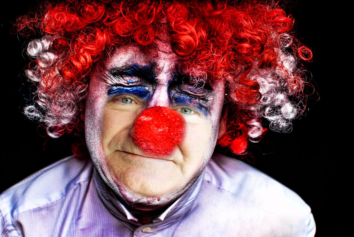 Robin Williams as sad clown