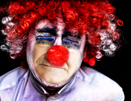 Robin Williams as sad clown