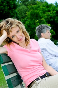 Couple during break in relationship skills training class